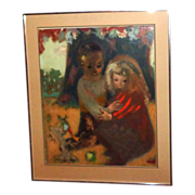 CYD CHARISSE Estate - Pierre Bollaert (French, 20th C)  Oil on Board - Two Children