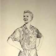 Mary Martin - Peter Pan Statue Study - Original Drawing By Ronald Thomason