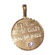 Custom Vintage 14k Gold Pendant With Diamond -With The Most Romantic Hand Carved Lettered Insc