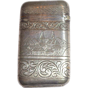 Antique American Match Safe (Vesta);  Front - River Boat With American Flag, Reverse - Riverfr