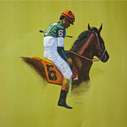 """CARLTON (American Artist) - """"After The Race"""" - Original Watercolor, Signed"""