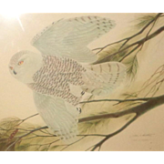 """LARRY HAGMAN Estate - John Ruthven (American,  1924 -) - """"Flying Snowy Owl"""" - Signed/Numbered Limited Edition"""