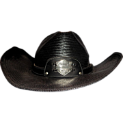 REDUCED Larry Hagman's Harley Davidson Cowboy Hat, Signed by Larry Hagman