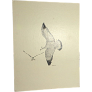 "Carlton (American 20th Century) ""Feeling Free"" Original Pen and Ink Drawing Of Birds In Flight"