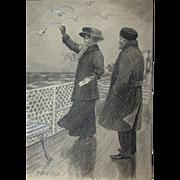 Poul Steffensen (1866-1923) - Original Antique Pencil, Pen and Watercolor Drawing on Paper, Circa 1910