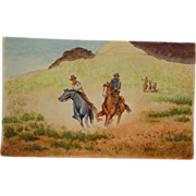 "Carlton (American 20th Century) - Original Watercolor - ""Run For Your Life"""