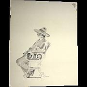 "Original Drawing ""Contemplation"" By Carlton (American 20th Century)"