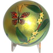 Steven Lundberg Personally Signed Large Paperweight, Enchanting Iridescent With Butterfly, Flo