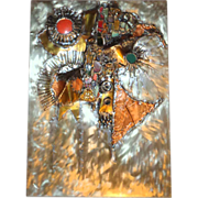 SOLD Rivka Eliav (1930-) Original Signed Metal Relief Abstract Hanging Sculpture
