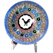 SOLD Baccarat Concentric Millefiori Paperweight With Gridel Rooster,  France, 1971, Ltd Editio