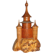 SALE PENDING Hand-Carved Wood Sculpture Of A Castle, Signed,  Circa 1990