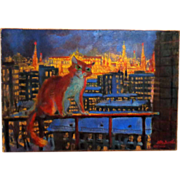 """""""Red Cat Over Kremlin"""" Original 20th Century Russian Painting, Signed"""