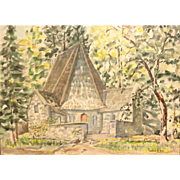 Stanford R. Horn (20th Century) Original Watercolor, Landscape With Church or Inn