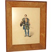 """REDUCED Antique Color Lithograph """"A Gentleman of his Majesty's Privy Chamber"""" from L"""