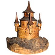 SOLD Hand-Carved Wood Sculpture Of A Castle, Signed, Circa 1990