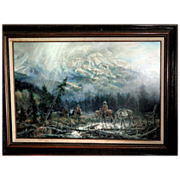 Mike Kopriva (20th Century) Signed Large Original Oil Painting From Jackson Hole, Wyoming, c .