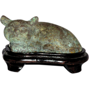 Chinese Bronze Model Of A Recumbent Cat