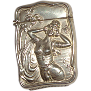 SALE Antique Bristol Shaped Match Safe (Vesta) With Exotic Woman, Palm Trees, Circa 1895