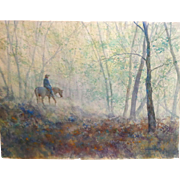 "SALE Todd Reifers (American 20th Century) Large Original Watercolor ""Silent Rain"""