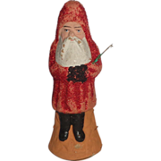 SOLD Red and Gold Belsnickle Santa With Branch, Germany, Circa 1900.