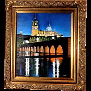 "F. Lucas (Cuban/Venezuelan/American, Contemporary) Original Oil On Canvas ""Cathedral Towers, Salamanca, Spain"""