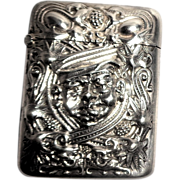 SALE Antique Sterling Silver La Pierre Match Safe (Vesta), Very Interesting Man's Head In High