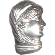 SALE SARAH BERNHARDT Antique Sterling Silver Howard Figural Match Safe (Vesta),