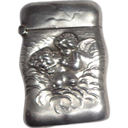 SALE Cupid Kissing Venus Unger 925 Sterling Silver Match Safe (Vesta) Circa 1900