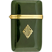 SALE TIFFANY & CO Jade and 14K Gold Match Safe (Vesta), Circa 1920