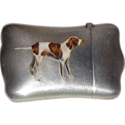 SALE Antique Sterling And Enamel Match Safe (Vesta) With Hunting Dog, C. 1900