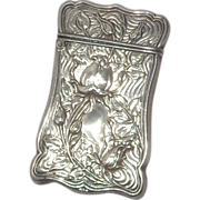 Sterling Silver Antique Blackinton Match Safe (Vesta) With Repousse Floral Decoration