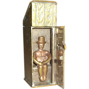 Humorous Antique Match Safe (Vesta) - An Outhouse or Privy With A Gentleman Using The Facilities