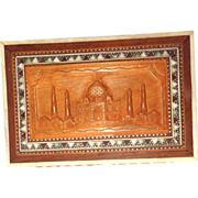 REDUCED Carved and Inlaid Wood Dresser Box With The Taj Mahal, Great Monument to Love