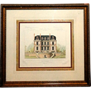 """Original Hand-Painted Watercolor """"Villa Suburbaine"""" Framed Architects Rendering"""