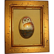 Original Signed Hand-Carved Hand-Painted Lacquered Wood Owl Egg