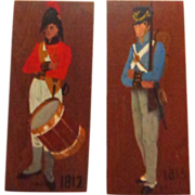 PAIR Of Signed Hand-Painted Wood Plaques Of Soldiers From The War Of 1812.