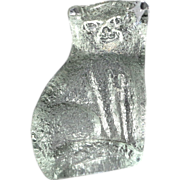 Large Heavy Textured Glass Cat Paperweight