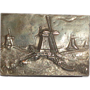 Dutch Silver Match Safe With Detailed Landscape With Windmills, Boats; Hallmarked