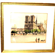 "Original Signed French School Watercolor on Paper ""Booksellers At Notre Dame"""