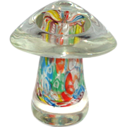 "Millefiori ""End Of Day"" Art Glass Mushroom Paperweight"