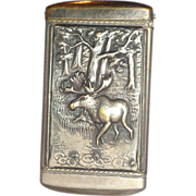 REDUCED Match Safe (Vesta) Featuring Moose Scene On Obverse, and Advertisement On Reverse; Fro