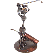 REDUCED Woman Golfer - Retired Nuts and Bolts Sculpture By Gunter Scholz, of Hinz and Kunst