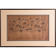 Floral Design Made By Cuts Out From Brown Paper, Chinese,  Stamped With Seal