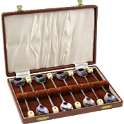 Set of Eight Silver-Plated Playing Card Mixing Spoons With Case
