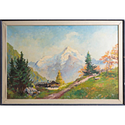 Signed Original Oil On Canvas Large Mountain Landscape
