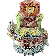 REDUCED Unusual Signed Hand-Made and Hand-Painted Ceramic Figure of A Woman On A ...