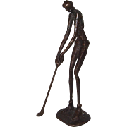 REDUCED Woman Golfer, Nude,  Metal Sculpture