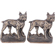 Vintage Boston Terriers Cast Iron Bookends