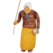Johnson Antonio (Native American, Navajo, b. 1931 - ) Rare Wood Carving Of An Old Indian Woman