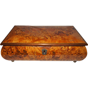"REDUCED Italian Marquetry Music Box, Bombe Form, Plays ""Fur Elise"" (Lara's Theme fro"